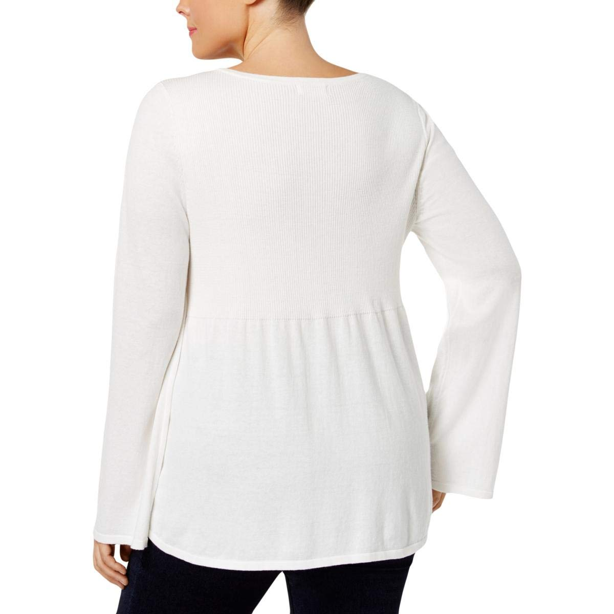 b4e87d728d6 Amazon.com  Style   Co. Womens Plus Lace Trim Babydoll Pullover Sweater  White 3X  Clothing
