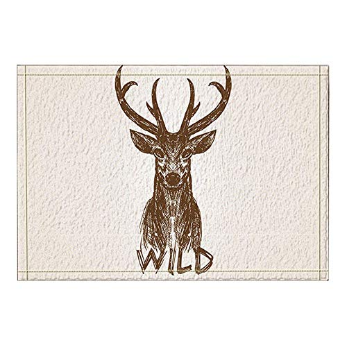 GoEoo Wild Animal Decor Hand-Painted Plum Deer Bath Rugs Non-Slip Doormat Floor Entryways Outdoor Indoor Front Door Mat Kids Bath Mat 15.7x23.6in Bathroom Accessories