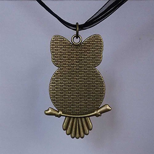 GiftJewelryShop Bronze Retro Style School Math And Backpack Owl Charm Pendant Necklace