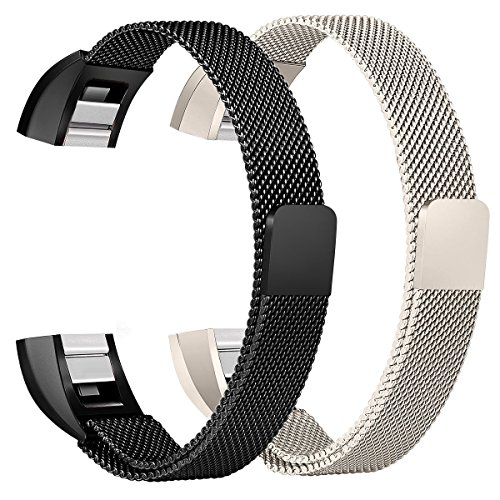 bayite For Fitbit Alta HR and Alta Bands Pack of 2, Replacement Milanese Loop Stainless Steel Metal Bands Women Men