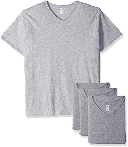 Fruit of the Loom Men's V-Neck T-Shirt (4 Pack), Athletic Heather, ()