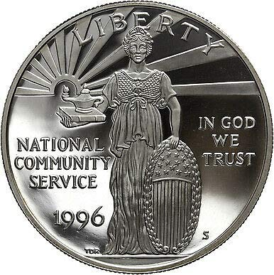 1996 S National Community Service Commemorative Proof Silver Dollar - DCAM - Gem Cameo - US Mint