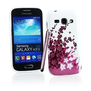Kit Me Out ES ® Funda de Gel TPU + Lápiz óptico rosa capacitivo / resistivo + Protector de pantalla con gamuza limpiadora de microfibra para Samsung Galaxy Ace 3 S7272 - Blanco / Rosa Flores