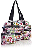 Big Handbag Shop Womens Colorful Cartoon Shoulder Bag White Tulips – Black Trim, Bags Central