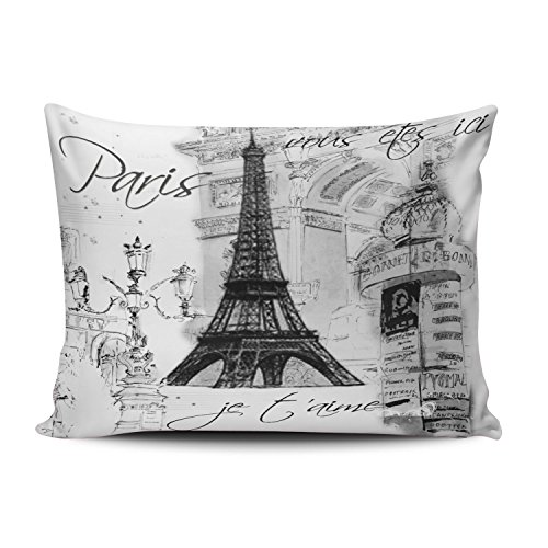 Hoooottle Custom Hot Romantic Black White Paris Eiffel Tower Collage Queen Pillowcase Rectangle Zippered One Side Printed 20x30 Inches Throw Pillow Case Cushion ()