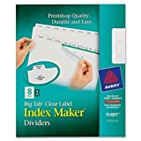 11491 Avery Big Tab Index Maker Clear Label Divider - 8 x Divider(s) - 8 Tab(s)/Set - 8.50'' Divider Width x 11'' Divider Length - Letter - 3 Hole Punched - 8 / Set - White Divider - White Tab