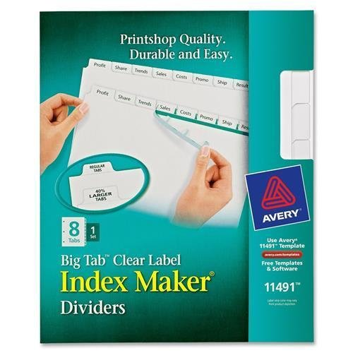 11491 Avery Big Tab Index Maker Clear Label Divider - 8 x Divider(s) - 8 Tab(s)/Set - 8.50'' Divider Width x 11'' Divider Length - Letter - 3 Hole Punched - 8 / Set - White Divider - White Tab by Avery