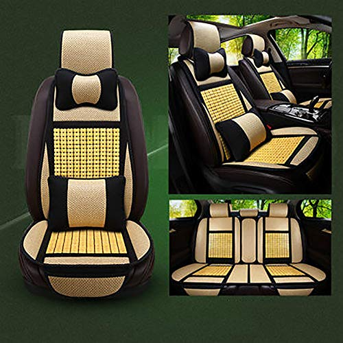 QJJML Car Seat Cover, Four Seasons Universal Breathable Cool Car Seat Cushion Mahjong Mat Summer Seat Cover/Suitable for 5 Car,G ()