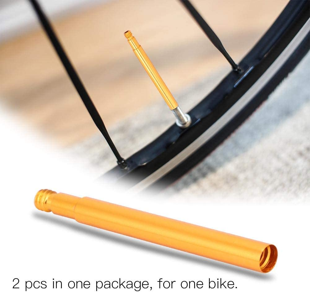 Bike Presta Valve Extender 2Pcs Durable Bicycle Tube Valve Extenders Inner Tyre Valves Extension for Road Fixed Gear Bike Tyre 60mm