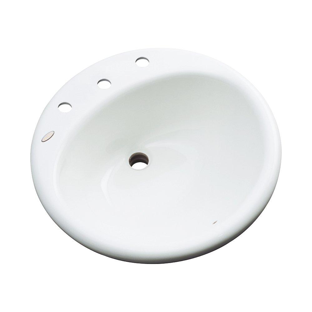 Dekor Sinks 86403 Newbury Cast Acrylic Self Rimming 3 Hole Bathroom Sink Biscuit