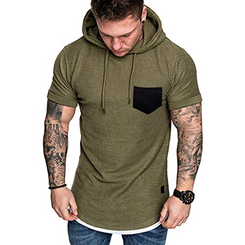 (Sharemen Men's Blouse Round Neck Slim T Shirt Solid Fake Two-Piece Hoodie Short Sleeve Hoodie Top Blouse with Pocket(Army Green,2XL) )
