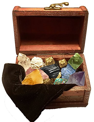 Lithia Stone Collection Set of 10 Chakra Meditation Stones in their Natural Geometric Formations - Healing Crystals- Metaphysical Gemstones with Velvet Pouch and Treasure Chest storage.