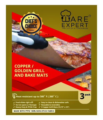 WareExpert Grill Mat | Set of 3 | Non-Stick Grilling Mats Copper Cookware & Bakeware | Reusable and Easy to Clean | PFOA Free | Perfect for gas, charcoal, infrared and electric grills (Non Stick 13 Inch Round Griddle)