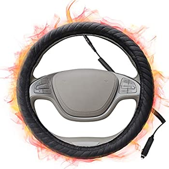 SEG Direct Heated Steering Wheel Cover for All Standard-Size Steering Wheels with 14.5inches-15inches Outer Diameter, Quick Heating Black Velour with Coiled Cord 12V
