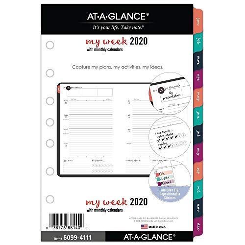 AT-A-GLANCE 2020 Weekly & Monthly Planner Refill, 5-1/2