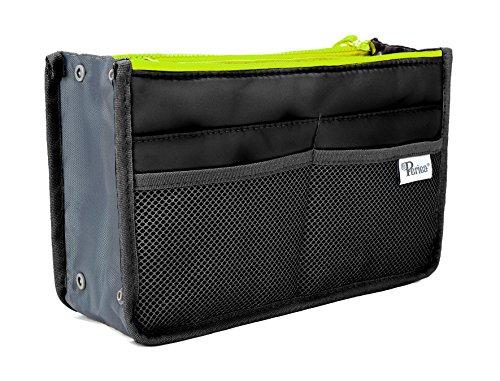 Periea Handbag Organizer - Chelsy (Large, Black with Neon Yellow ()