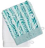 France Luxe Body French-Style Bath Mitt 2-Pack - Fleur Aqua Multi/White