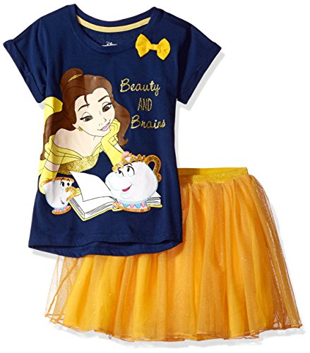 Disney Toddler Girls' Beauty and the Beast Belle 2-Piece Skirt Set, Navy, 2T