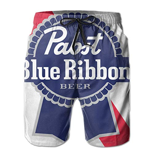 (Men's Pabst Blue Ribbon Beer Logo Swim Shorts Quick Dry Lace Beach Board Shorts Comfortable Beachwear White)