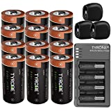 Tyrone RCR123A Batteries Compatible Arlo Security Cameras (VMC3030/VMK3200/VMS3330/3430/3530), [ 3.7V Li-ion Rechargeable Battery 700mAh CR123A 12 Pack with Charger, 3 Pack Arlo Cover Skins ]