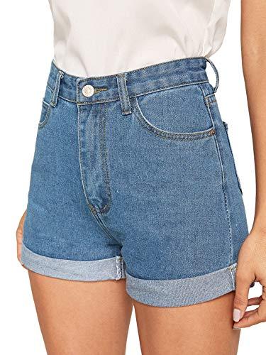 Milumia Women's Casual Mid Waist Rolled Hem Denim Jean Shorts with 5-Pockets M-Blue