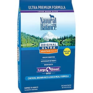 Natural Balance Large Breed Bites Dry Dog Food, Original Ultra Whole Body Health, Chicken, Brown Rice, Duck Meal Formula, 30-Pound