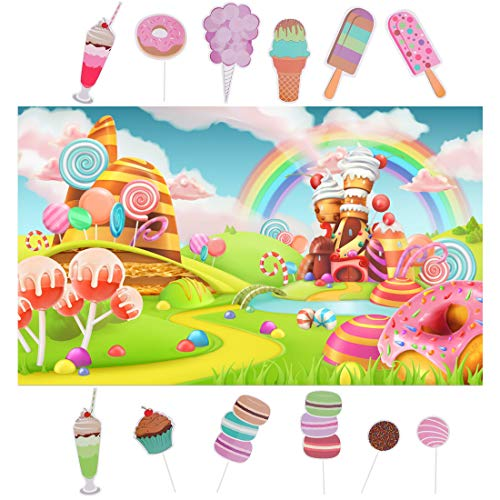 Spotlip Rainbow Candy Photo Backdrop and Studio Props DIY Kit.1 PCS Candyland Photo Booth Background,12 PCS Lollipop ice Cream Photo Booth Props,Princess Baby Shower Birthday Party -