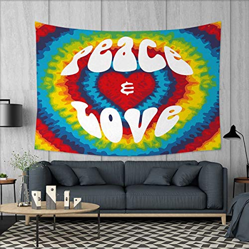 (Anniutwo 70s Party Dorm Decor Peace and Love Groovy Sixties Tie Dye Heart Shaped Abstract Hippie Rainbow Art Tapestry Table Cover Bedspread Beach Towel W71 x L60 (inch) Multicolor)