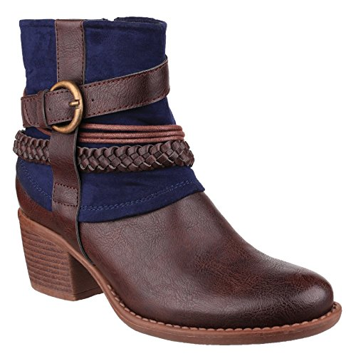 Bleu Marine Womens Vado Ankle Boots Casual Divaz Fashion ladies Lined Fleece PTqxvz