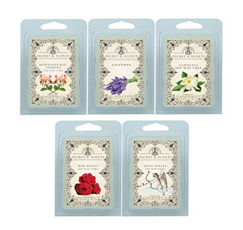 Secret and Scents Highly Scented Soy Wax Melts - 5 Assorted Wax Tart Cubes Variety Packs (Floral) ()