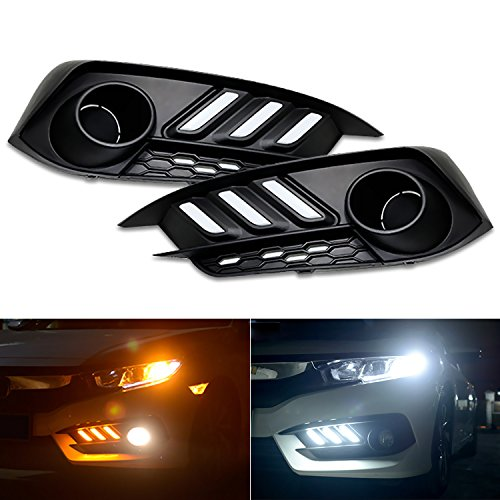 RCP -CVI-DRL01- Aftermarket Mustang Style LED Daytime Running Lights Turning Lights for 2016-2017 Tenth Generation Honda Civic- FC1, FC2, FC3, FC4, Set of 2 (Honda Aftermarket Accessories)
