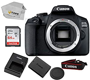 Canon EOS 2000D (Rebel T7) Body Only Includes Free SanDisk Ultra 64GB SDHC Class 10 Card (Lens Not Included)