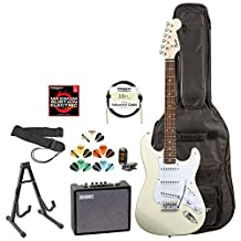 Squier by Fender 028-0002-580-KIT-3 Arctic White Electric Guitar with Accessories and Amp