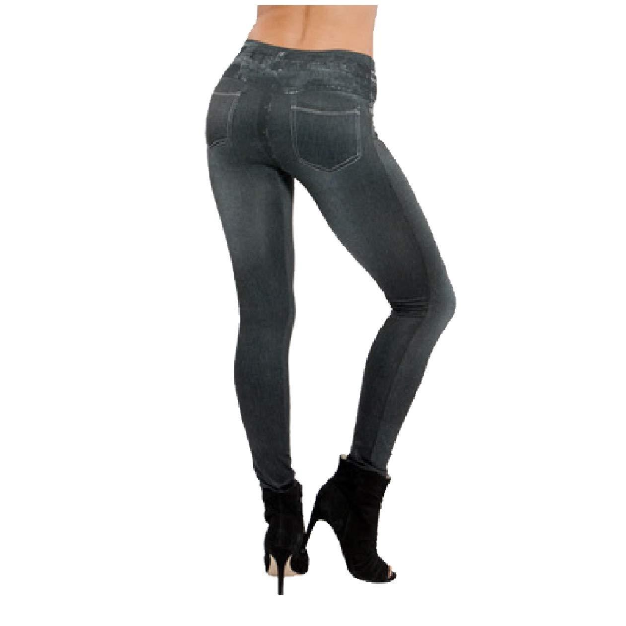 Tootless-Women Hip Enhancer Denim Jeggings Bodycon Highwaist Stretch Pants Black 2XL