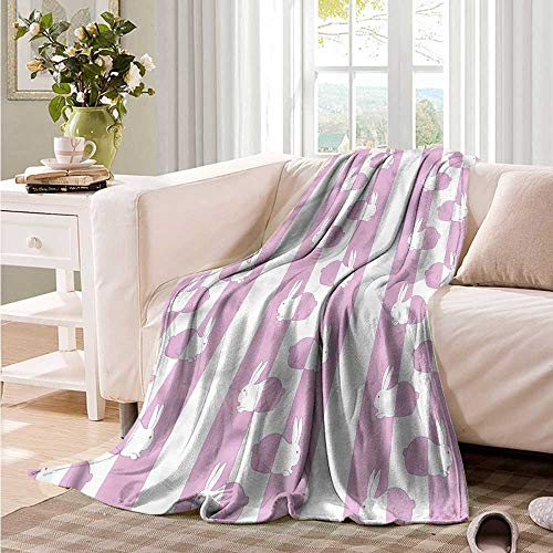 Oncegod Soft Warm Coral Fleece Blanket Easter Cute Bunny Rabbit Kids Bedding Throw, or Blanket Sheet 93