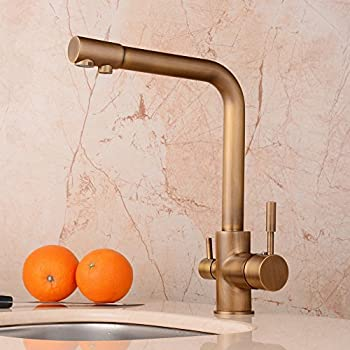 Hiendure Antique Brass Purified Water Outlet Kitchen Sink Faucet with Swivel Spout