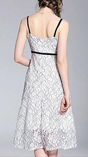 Kleider Ohne Cocktailkleid Reine A Kleid Linie Arm Weiß Midi YL87601 Partykleid Spitze Hohl Damen DISSA UIOPfxqq