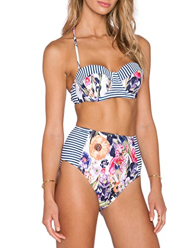Dos piezas bikini de la mujer Set Floral bañador
