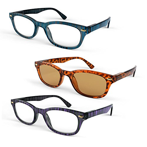 Primary Optics Classic Women's Oval Spring Hinge Reading Glasses with One Computer Lens Reader, Blue, Leopard, Purple +1.5 (Oval Spring Hinge)