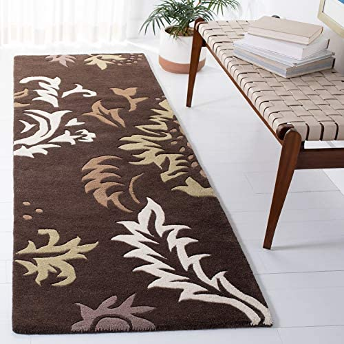 Safavieh Soho Collection SOH831A Handmade Brown and Ivory Premium Wool Runner 2 6 x 12