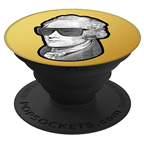Culture of Pop American Founding Father Alexander Hamilton with Sunglasses. USA History PopSockets Stand for Smartphones and Tablets