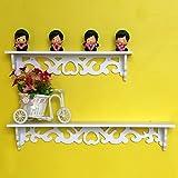 Yosoo White Wooden Chic Filigree Style Decorative Floating Wall Shelf, CutOut Design Shelves (Large)