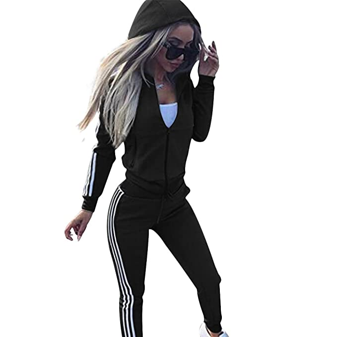 2PCs Womens Full Tracksuit Casual Hooded Tops /& Pants Fitness Workout Sport Suit