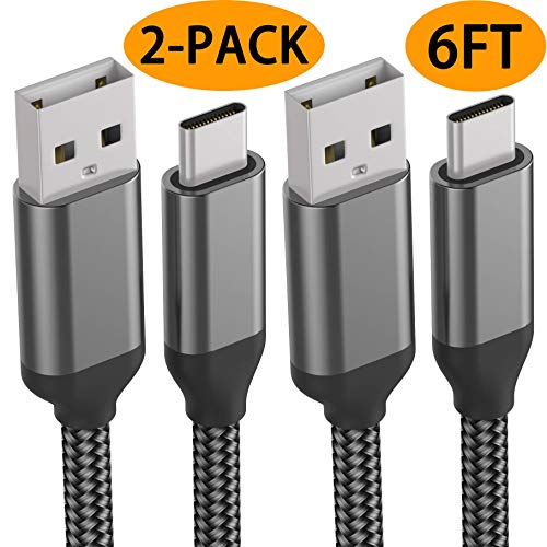 USB C Cable,6FT 2PACK,Fast Charging,Nylon,Charger Cord For LG Stylo 4, G8 G7 V40 V35 ThinQ,Moto Z3 G6 G7,Google Pixel 3 2 XL,OnePlus 6T,Samsung Galaxy S10e S10 S9 Plus Note 9 8,ZTE Blade,2018 iPad Pro ()