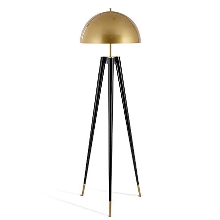 Lámpara de Pie Trípode, Luces Triples, Pantalla Hemisférica de Hierro, E14, Negro, Altura 65.01