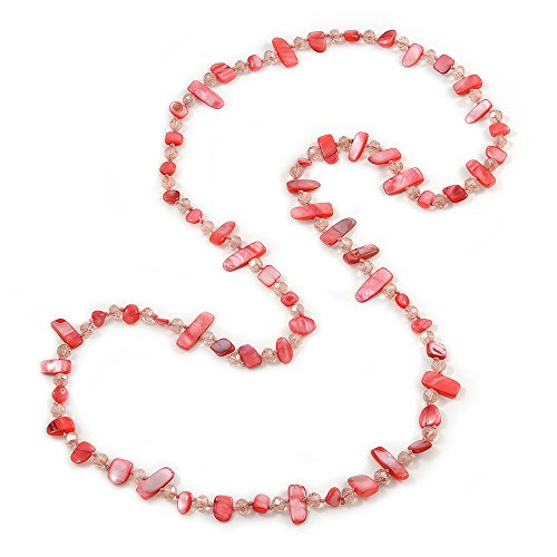 Avalaya Long Peony Pink Shell/Transparent Glass Crystal Bead Necklace - 120cm L