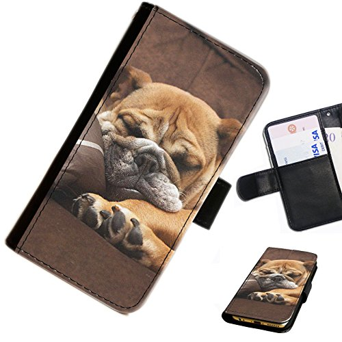 Hairyworm - Bulldog chillin on sofa Huawei Y6 leather side flip wallet cell phone case, cover with card slots, money slot and magnetic clasp to close.