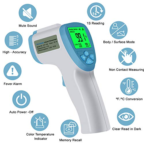 Forehead Thermometer Digital Infrared Non-Contact Measurement Professional Precision Thermometer Fast Readings Fever Alarm for Adults Baby Kids Indoor Outdoor