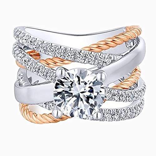 bromrefulgenc Elegant Ring for Women,Fashion Female Cross Dual Color Rhinestone Ring Engagement Wedding Jewelry Gift Silver + Golden US 9