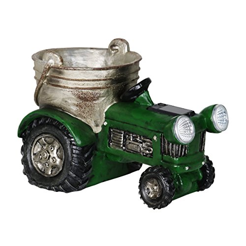 Exhart Green Tractor Planter, Solar Powered, Resin, Hand Painted, Weather Resistant, Indoors & Outdoors, 12